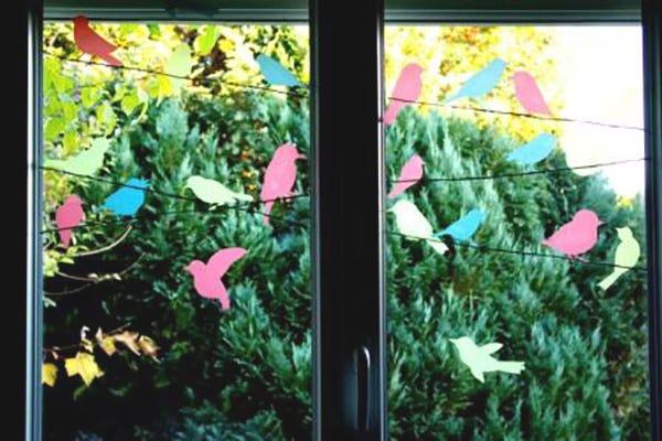oiseaux décoration fenêtre DIY