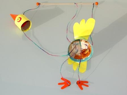 marionnette oiseau en carton