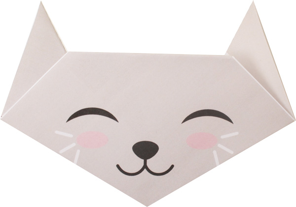 Origami en t te animal pour enfants - Origami chat facile ...