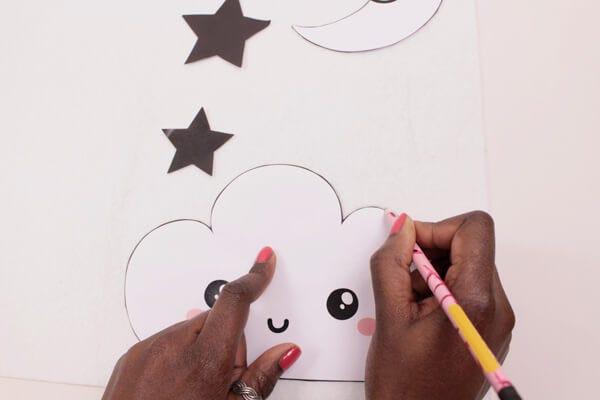 DIY mobile nuage kawaii pour les enfants