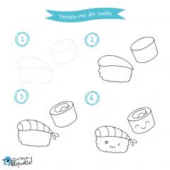 Coloriage et dessin de sushis