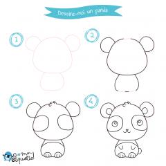 Dessin et coloriage de panda