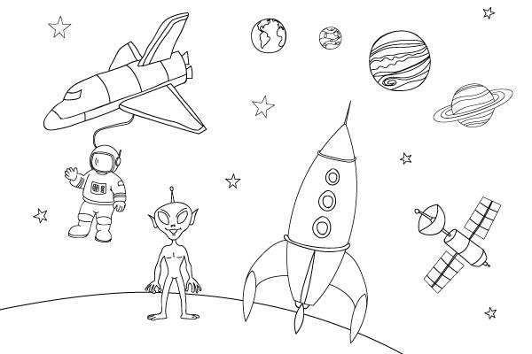 Coloriage Espace Planete.Dessins Et Coloriages De L Espace