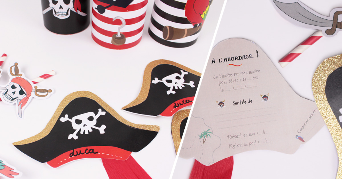 diy invitations d 39 anniversaire pirate. Black Bedroom Furniture Sets. Home Design Ideas