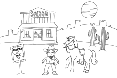 Dessine-moi le far west - dessin et coloriages de western