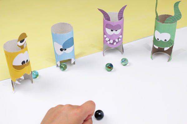 Atelier DIY jeu de billes monstres récup