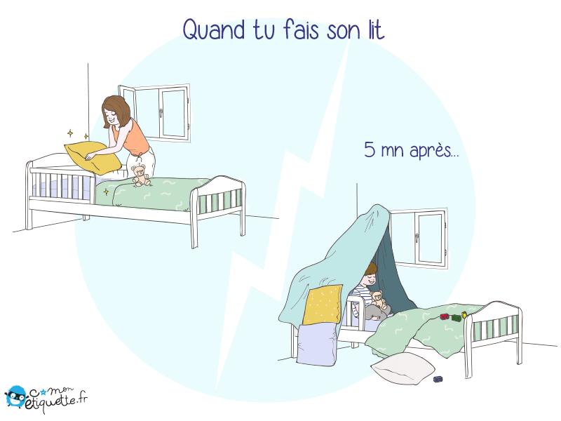 Humour vie de parent : quand tu fais son lit