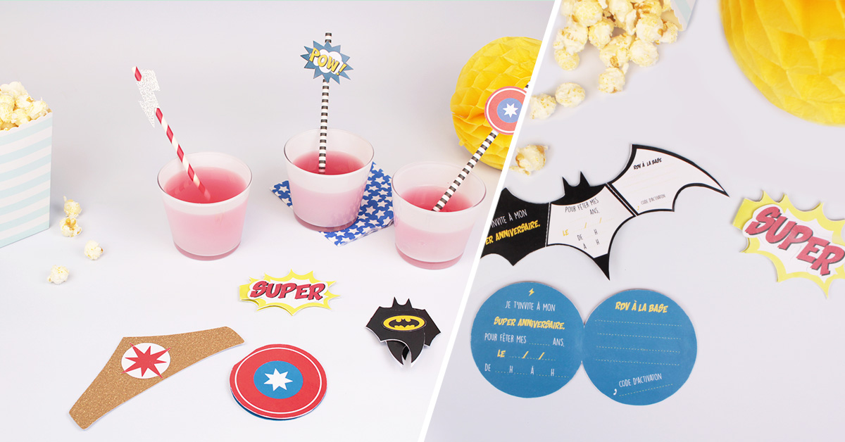 DIY atelier cartons d'invitations anniversaires super-héros