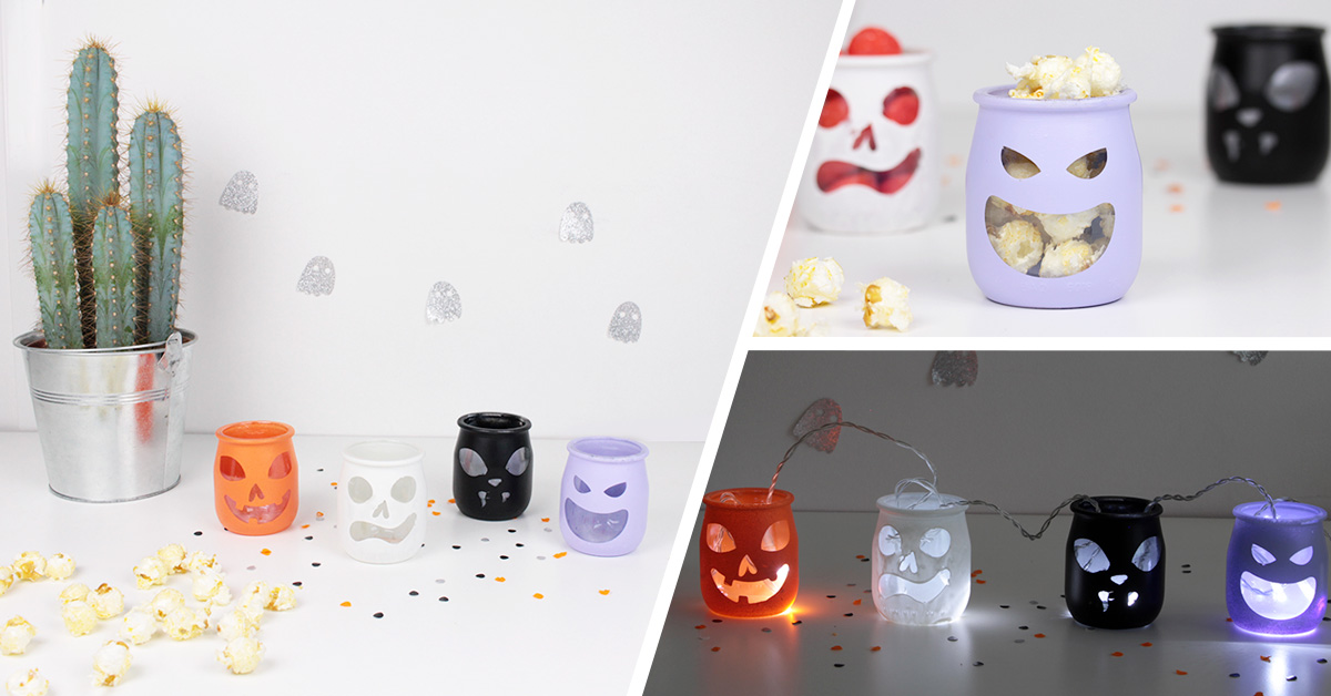 Atelier DIY fabrication de photophores d'Halloween de récup