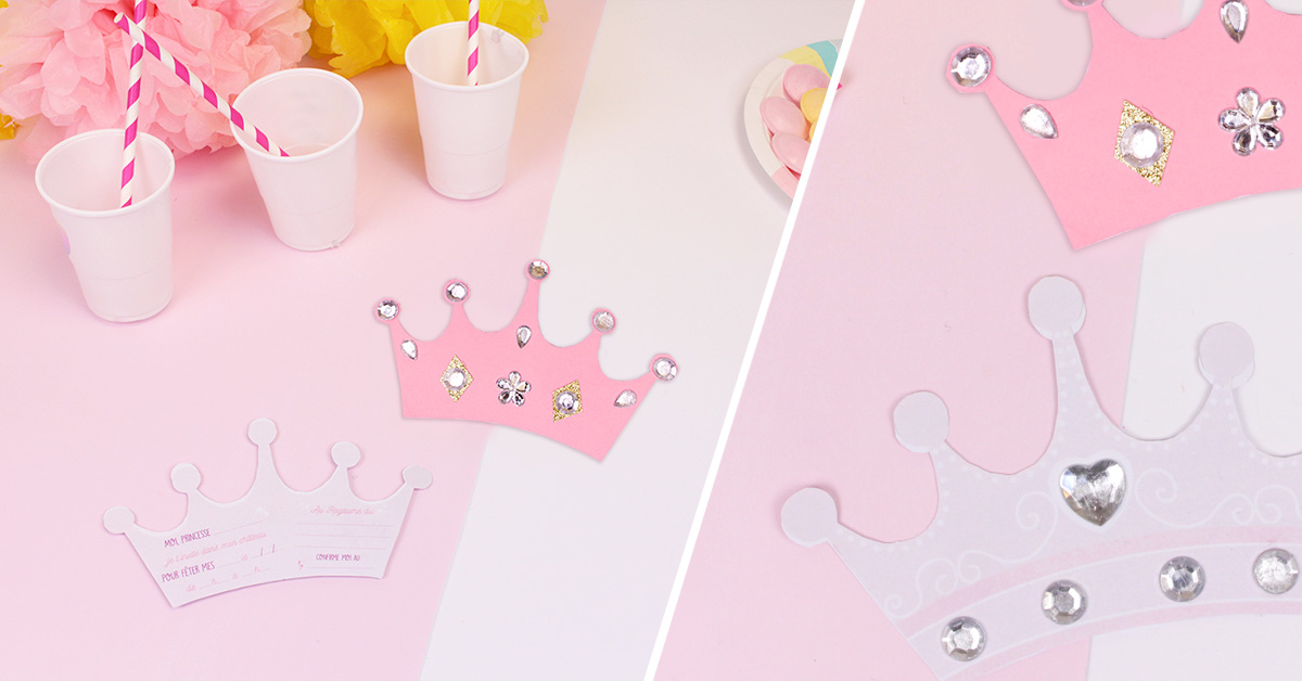 Invitations d'anniversaire princesse couronne
