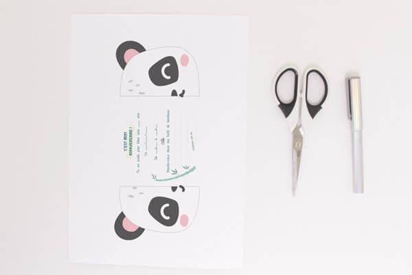 DIY invitation panda - matériel