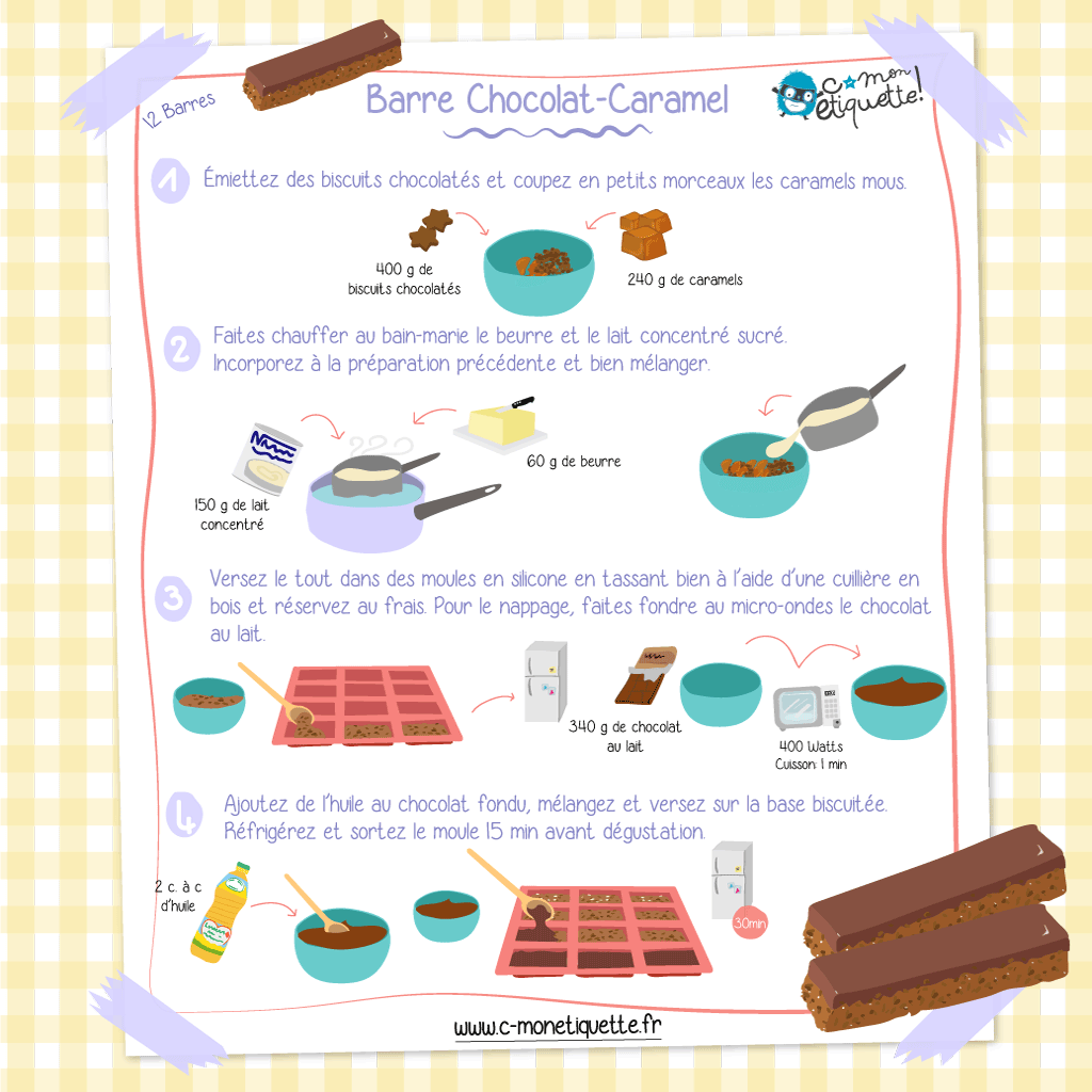 Barre chocolat-caramel DIY pour enfants