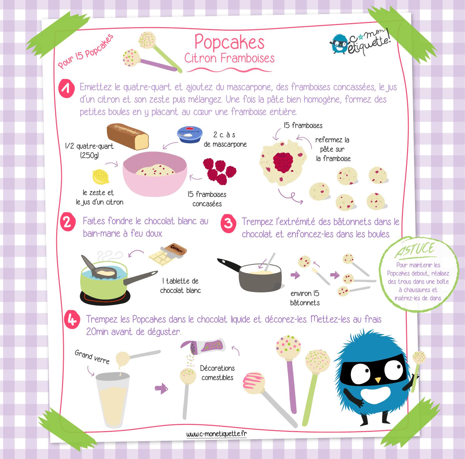 Recette popcakes citron coeur framboise