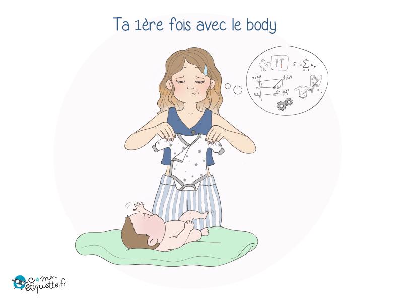 Pas toujours évident d'enfiler le premier body à son bébé