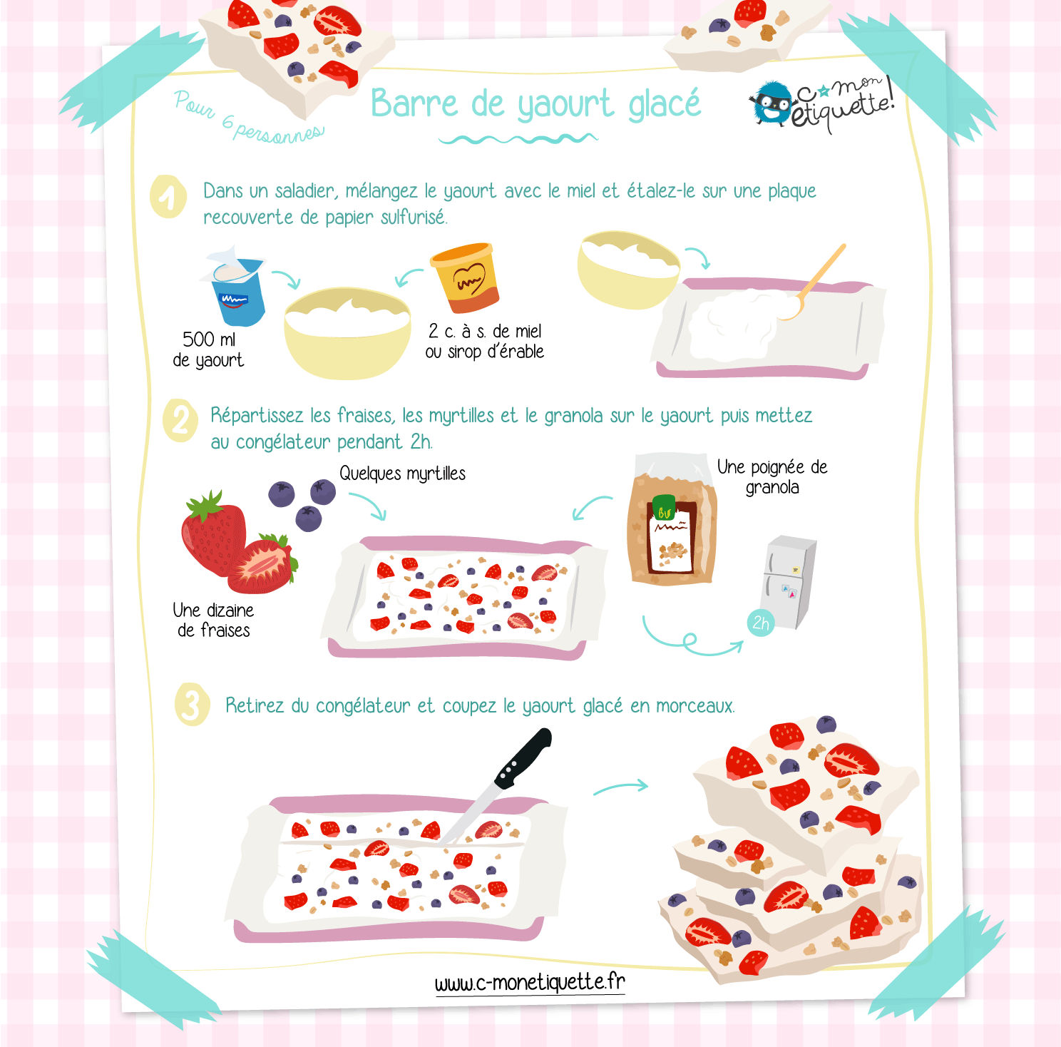 Recette facile barre yaourt glacé