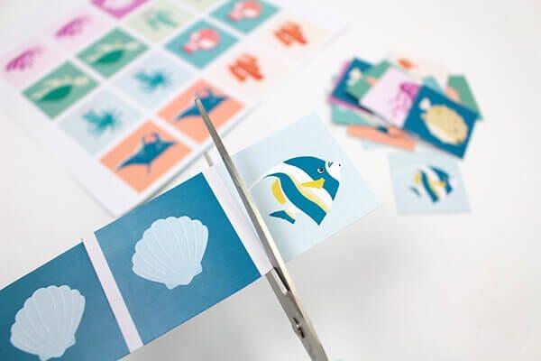Réalisez facilement notre atelier memory fonds marins pour faire travailler votre mémoire en s'amusant !