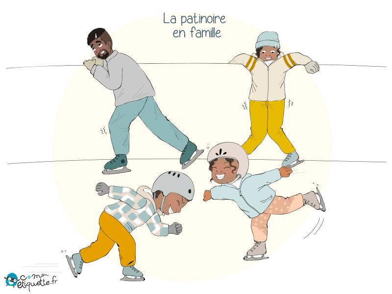 Les joies de la patinoire en famille !