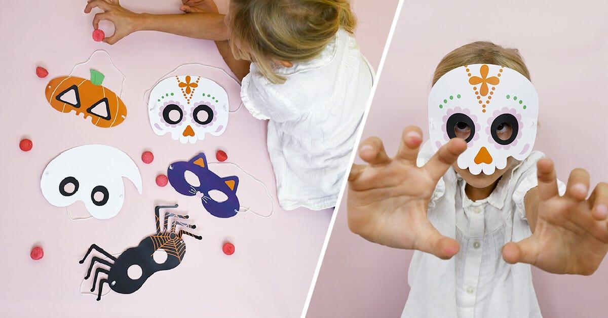 Pour effrayer tous vos amis, téléchargez gratuitement votre masque d'Halloween à imprimer : Citrouille, Chat noir, Fantôme, Tête de mort mexicaine ou araignée