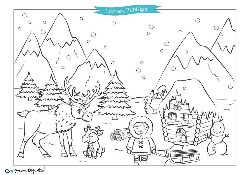 Les animaux de la montagne dans la neige à colorier !