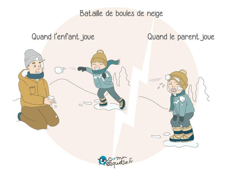 Quand t'es parent tu sais qu'il faut toujours faire attention quand tu joues au lancer de boules de neige avec tes enfants.