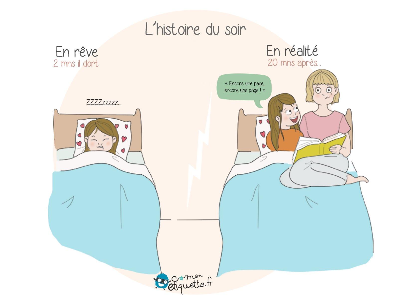 Lire un livre pour l'endormir, quelle bonne idée ! Mais l'histoire du soir n'est généralement pas si courte que ça !