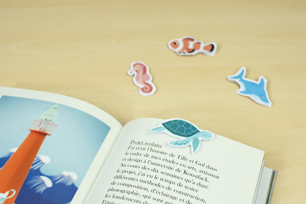 Découvrez nos marque-page animaux de la mer, compagnons de vos lectures et moments calmes avec vos enfants.