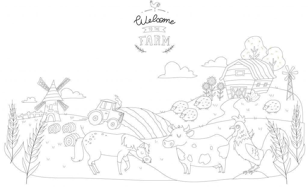 On part à la campagne avec le coloriage des animaux de la ferme !