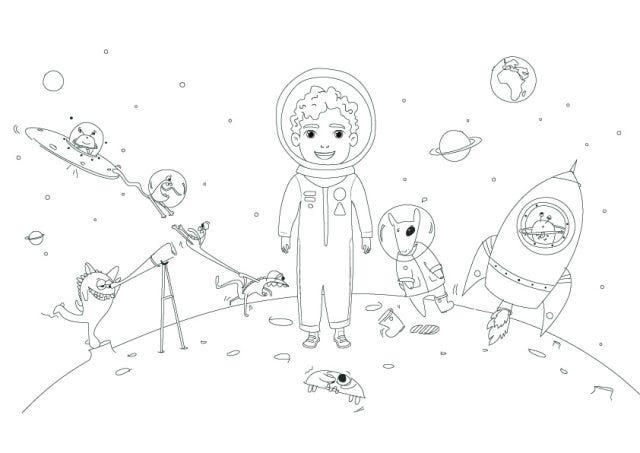 Un coloriage à télécharger gratuitement sur le thème de l'espace